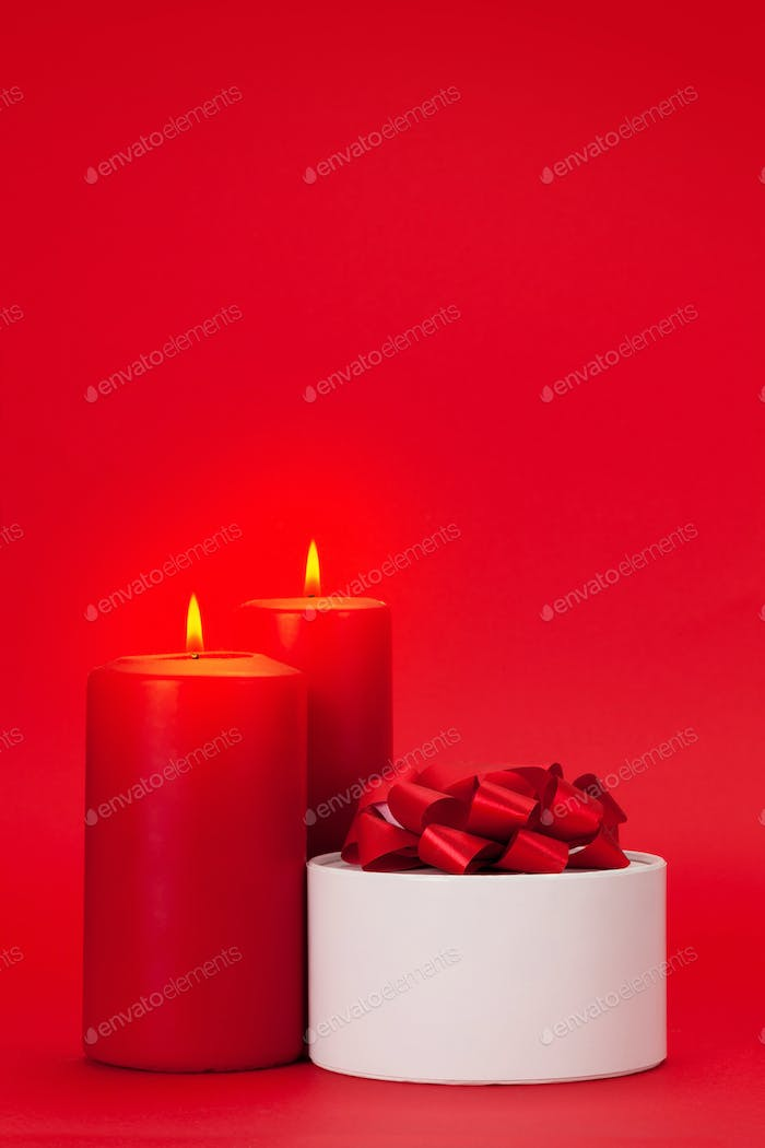 Valentines day gift box and candles