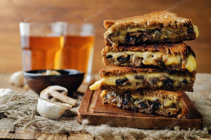 Gauda Cheese roasted Mushrooms and onion rye sandwich
