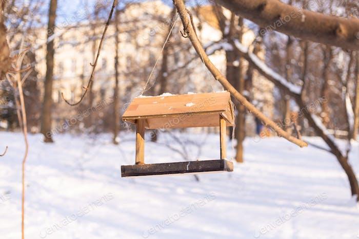 Birdhouse in winter snowy park forest