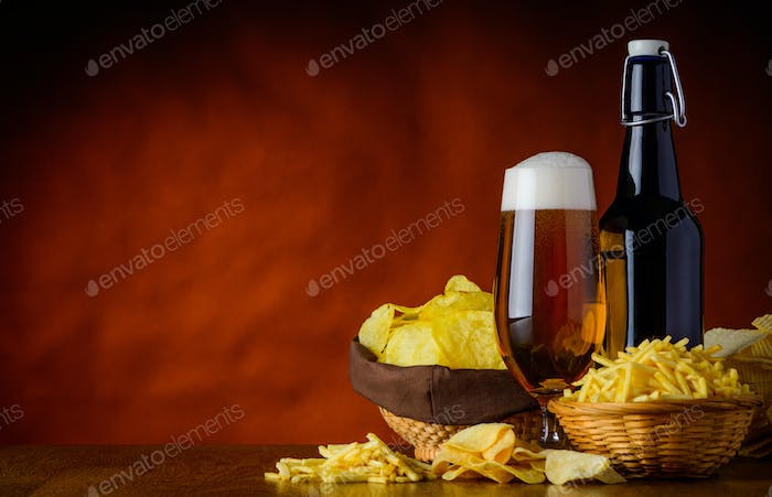 Junk-Food and Beer with Copy-Space
