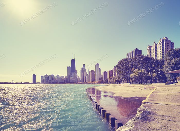 Color toned Chicago waterfront skyline on early morning, USA.