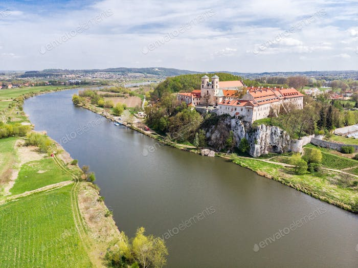 Aerial view of Benedictine abbey, monastery  in Tyniec near Krak