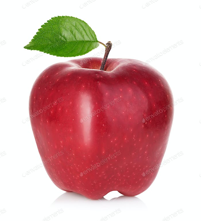 Red apple with green leaf isolated on white background.
