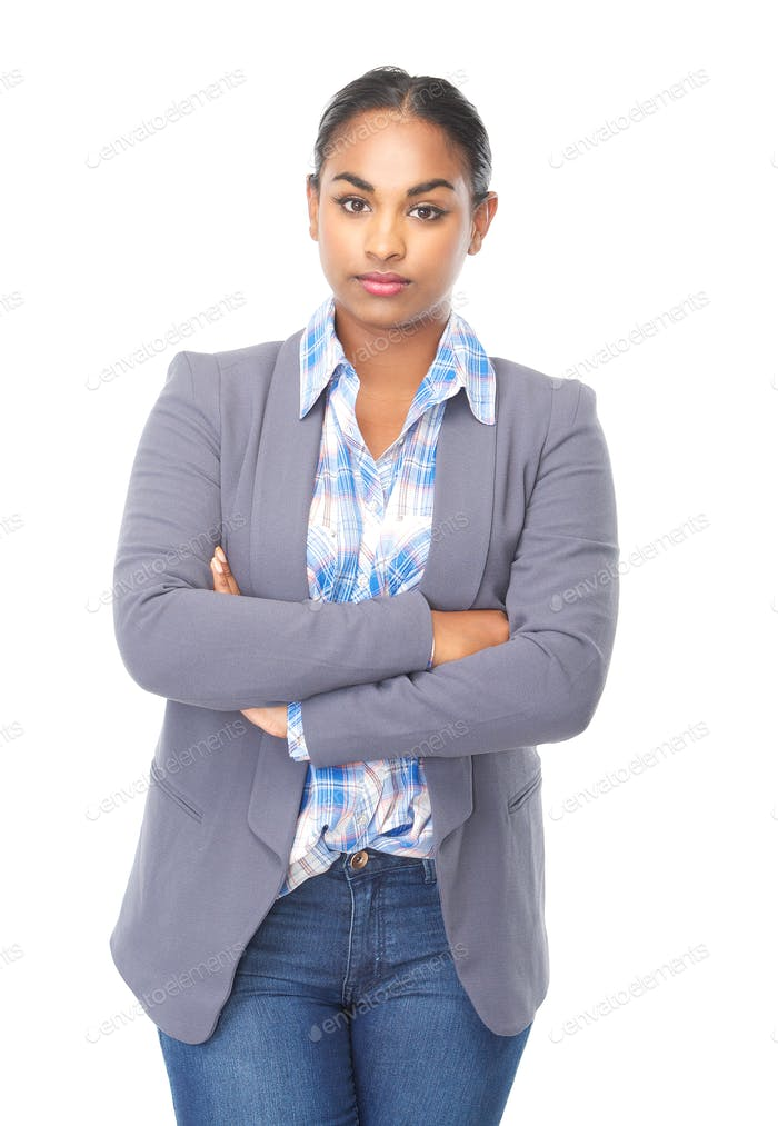 Serious young woman with arms crossed