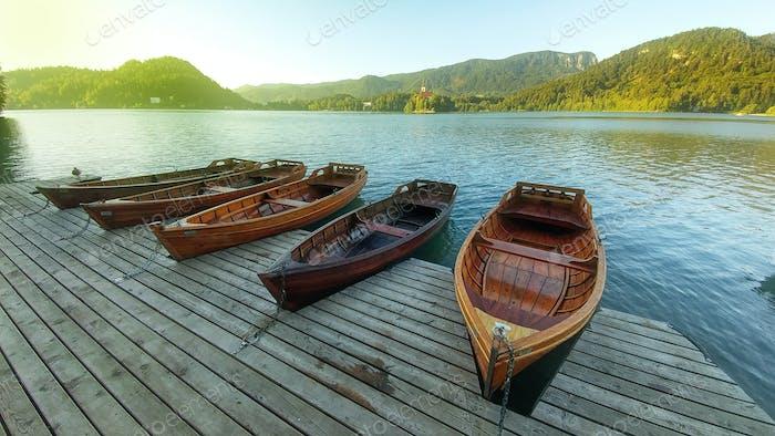 Sunrise at Lake Bled, Slovenia, Europe