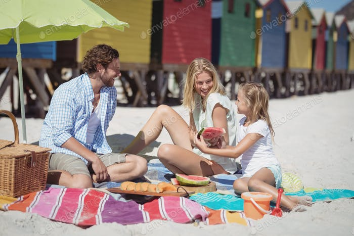Happy family sitting together on blanket at beach
