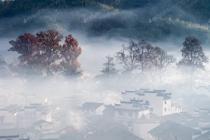 beautiful mountain village in early morning