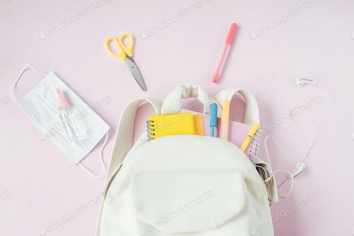 Student school bag with medical mask, sanitizer