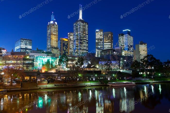 Melbourne's Federation Square At Dusk