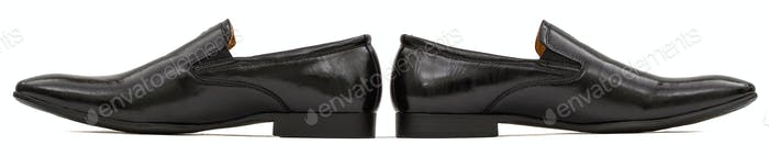 Men's classic black leather shoes, isolated on white background