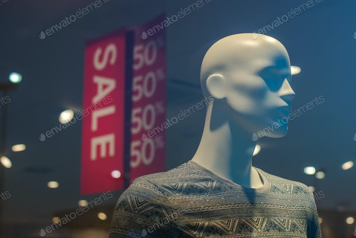 Shopping mall boutique mannequin, male figure portrait