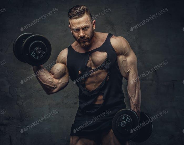 Portrait of bodybuilder with dumbbells.