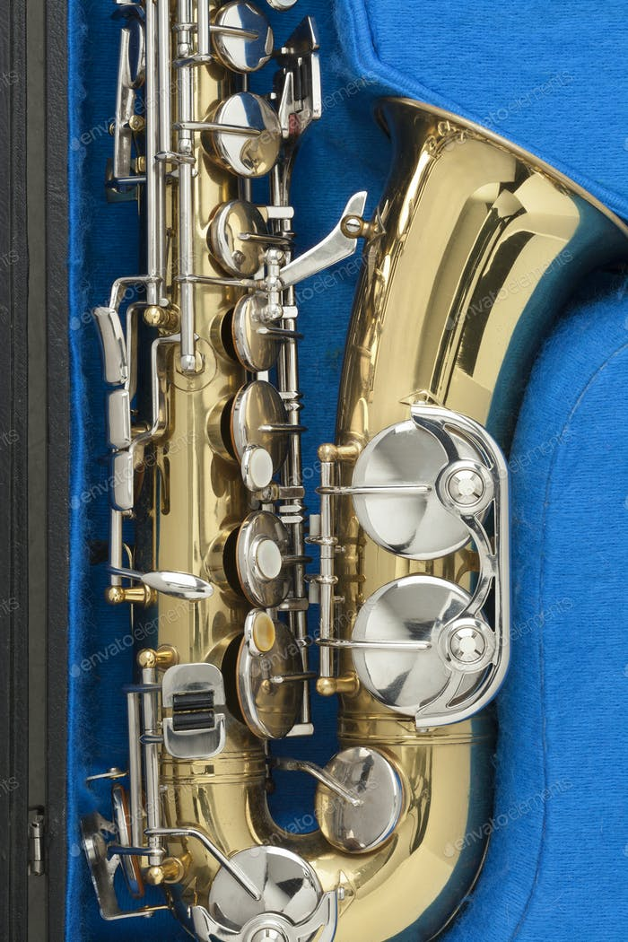 Shiny bronze saxophone in a blue case