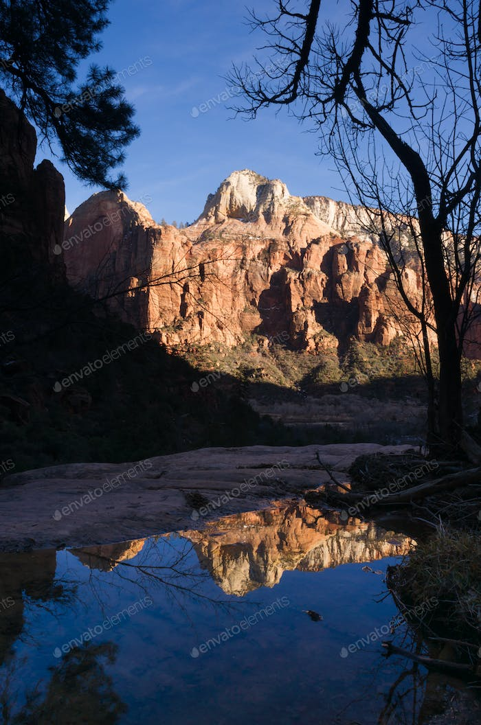 Water Filled Tarn Reflects High Mountains Zion National Park