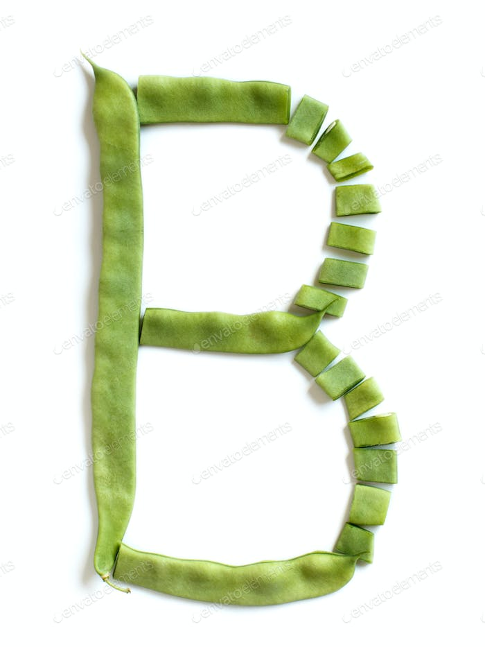 letter B made from Piattoni green beans