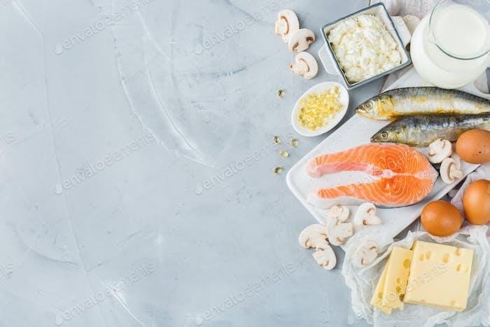 Surtido de alimentos saludables fuente de vitamina d