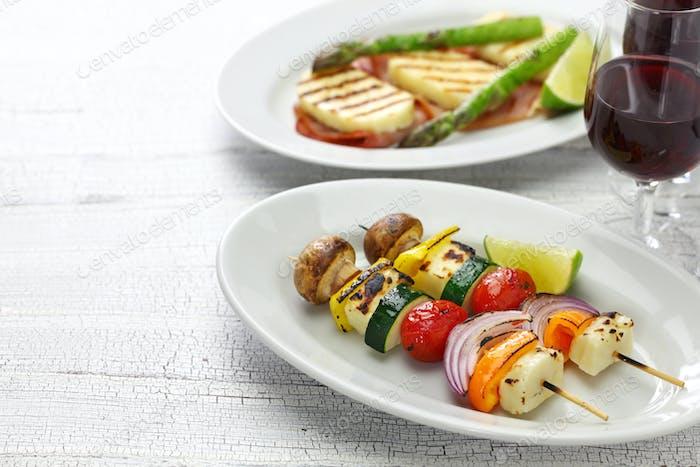 halloumi cheese vegetables skewers kebab