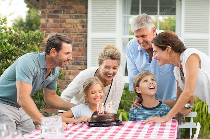 Family enjoying birthday party