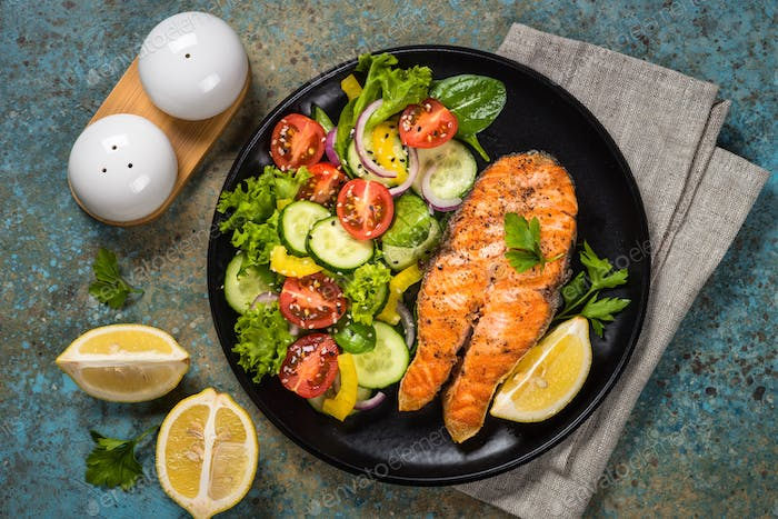 Grilled salmon fish steak with vegetables
