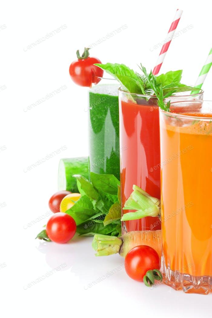 Fresh vegetable smoothie. Tomato, cucumber, carrot