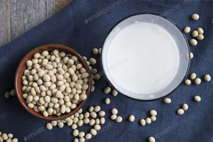 Soybeans and soy milk flat lay.