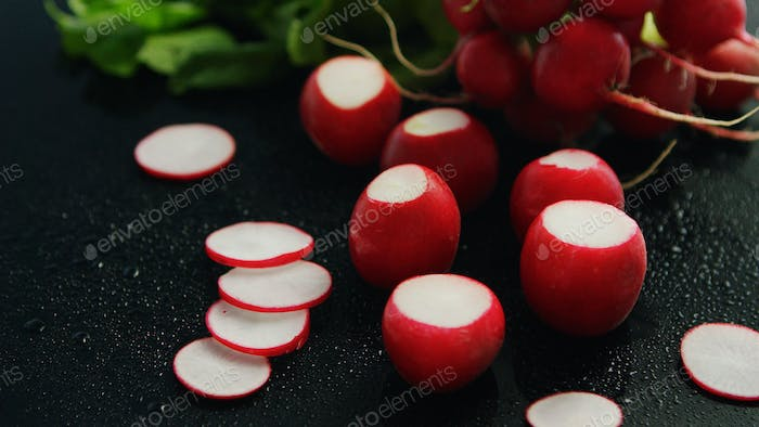 Small red radish in slices