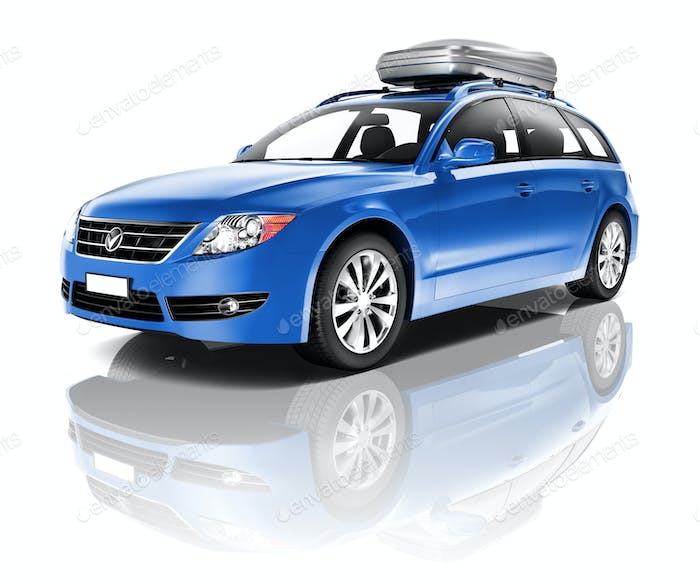 Three Dimensional Image of a Blue Car