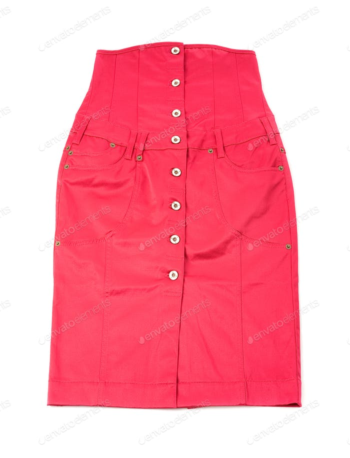 Pink shiny denim high waist tube skirt