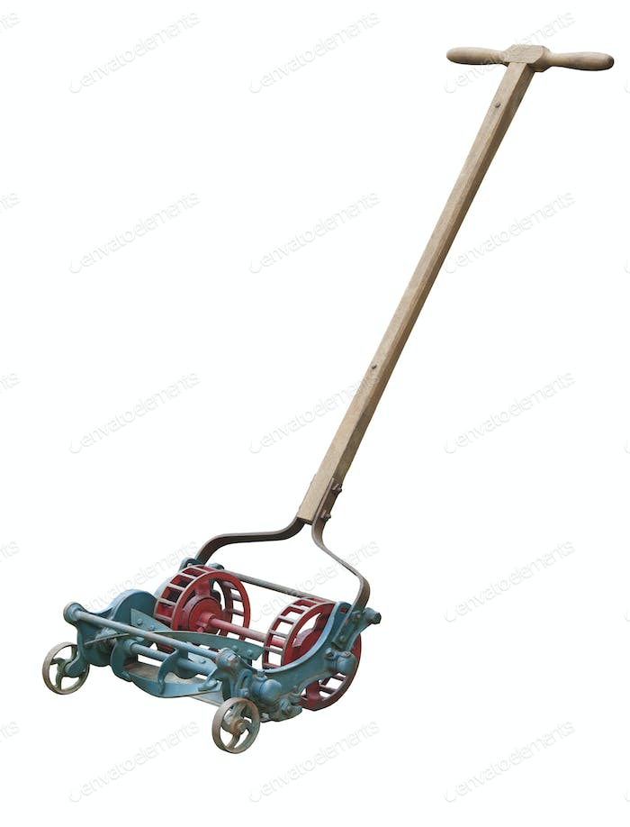 Antique Lawnmower Isolated on White Background