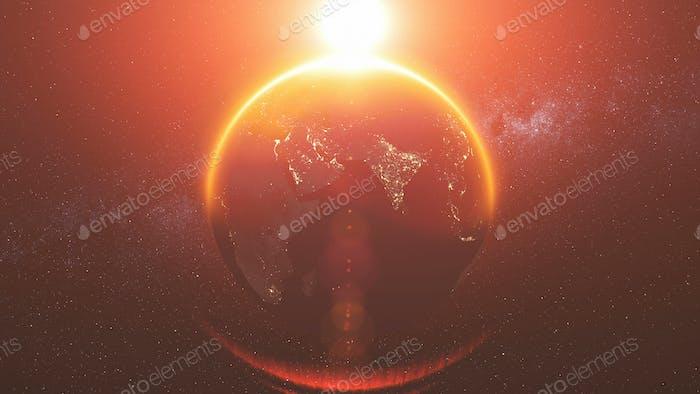 Earth orbit rotation reverse bright red sun beam