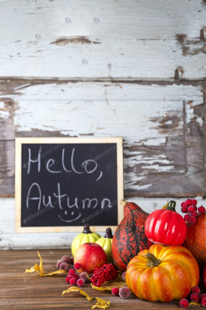 Hello Autumn sign on board
