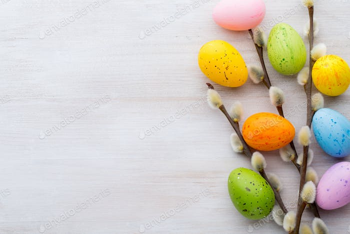 Easter and spring decoration, catkins and eggs.