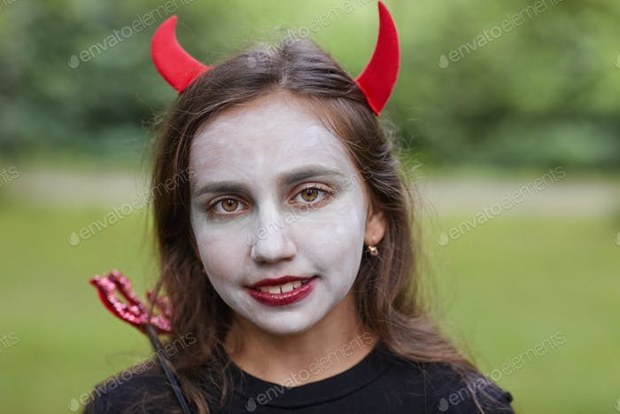 Girl Wearing Costume for Halloween