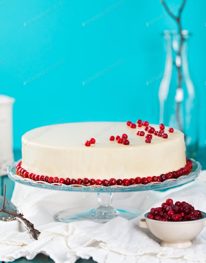 Cranberry, bilberry, raspberry tart, mousse cake, pie, cheesecake with fresh bilberries