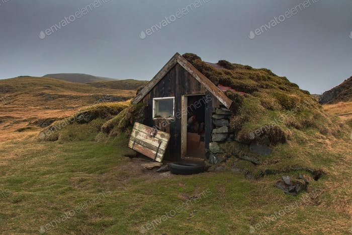 Damaged shack in countryside