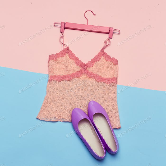 Romantic Summer Outfit Top and shoes for Lady Top View