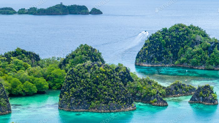 Ilha Pianemo, Lagoa Azul, Raja Ampat, Papua Ocidental, Indonésia