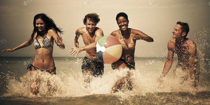 Old fashioned beach fun Running Concept