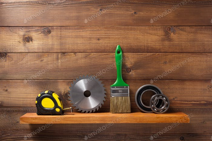 set of  tools and instruments on shelf