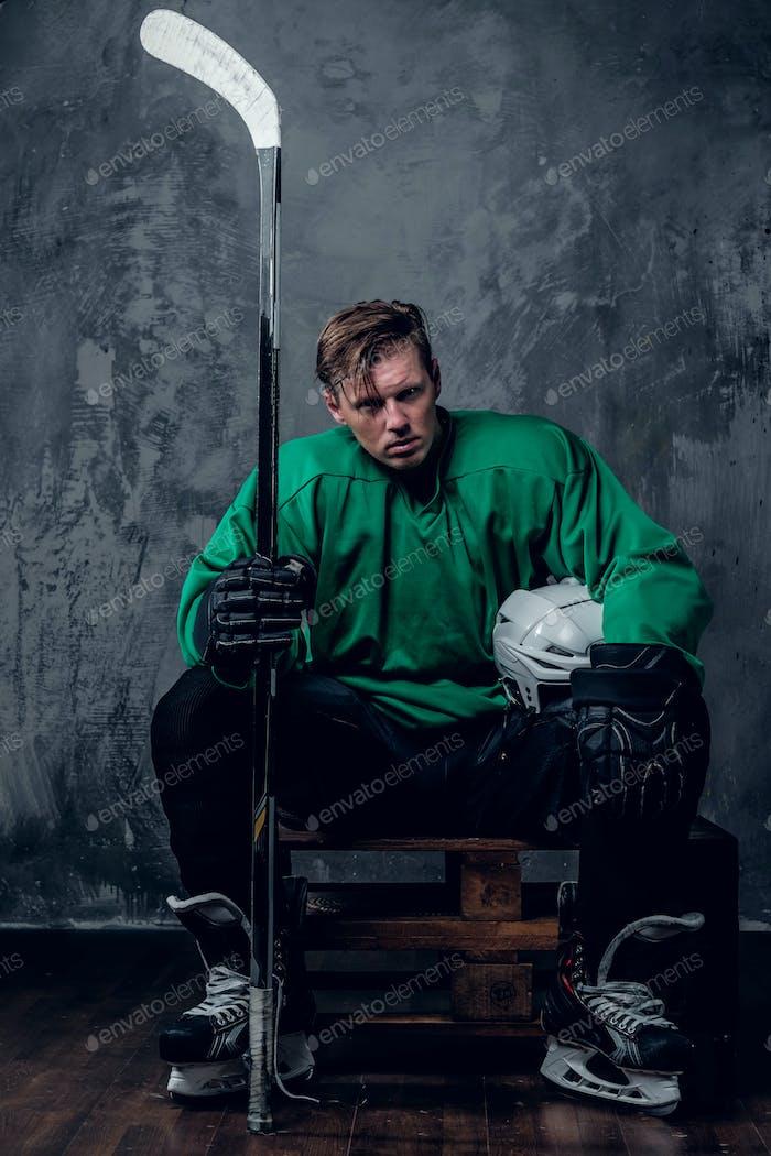 Tired hockey player