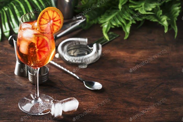 Aperol spritz cocktail in big wine glass