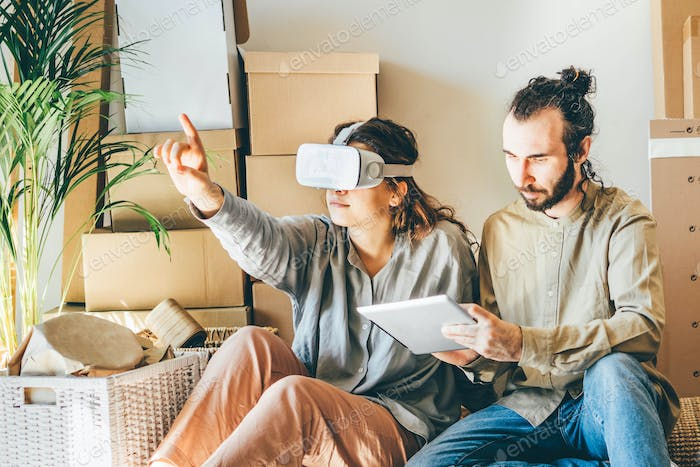 couple planning interior design in virtual reality.