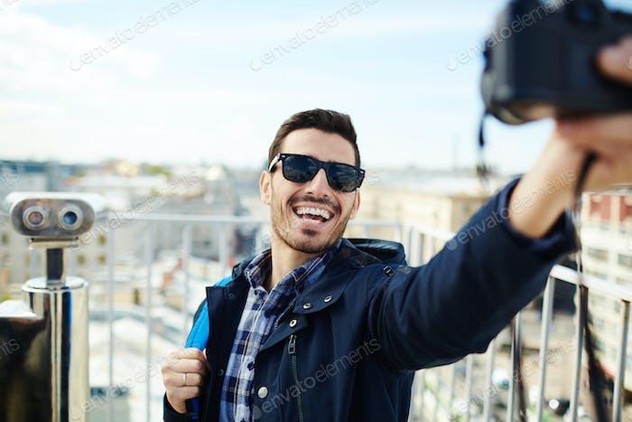 Selfie of backpacker