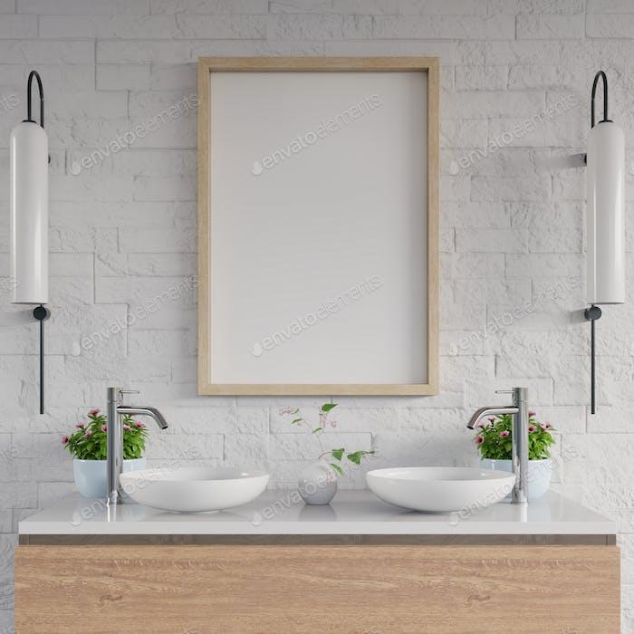 White bathroom sink standing white mockup poster on cabinet shelf.