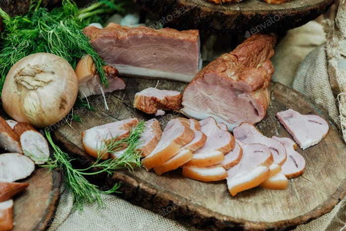 classic ham on wood with onions