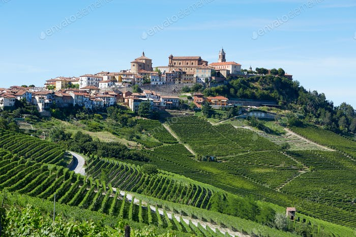 La Morra town on hills in Italy in a sunny day