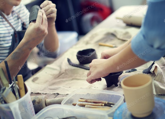Craftsman Clay Pottery Creativity Concept
