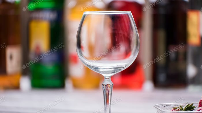 Empty and clean wineglass