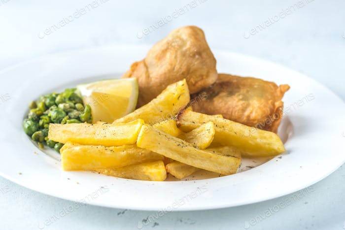 Portion Fisch und Chips
