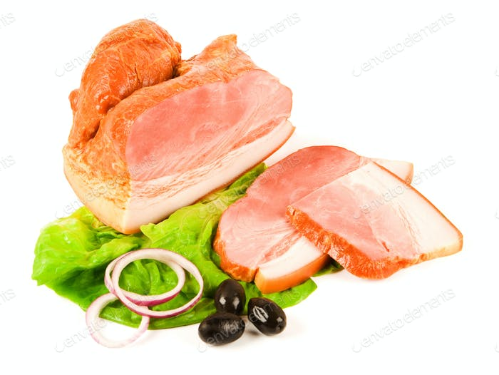 Spicy boiled ham and slices